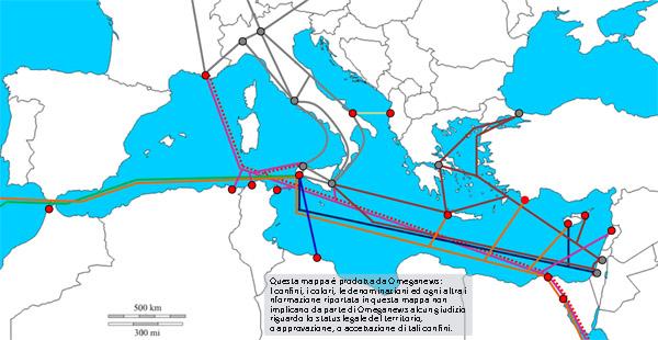 I cavi sottomarini nel bacino del Mediterraneo