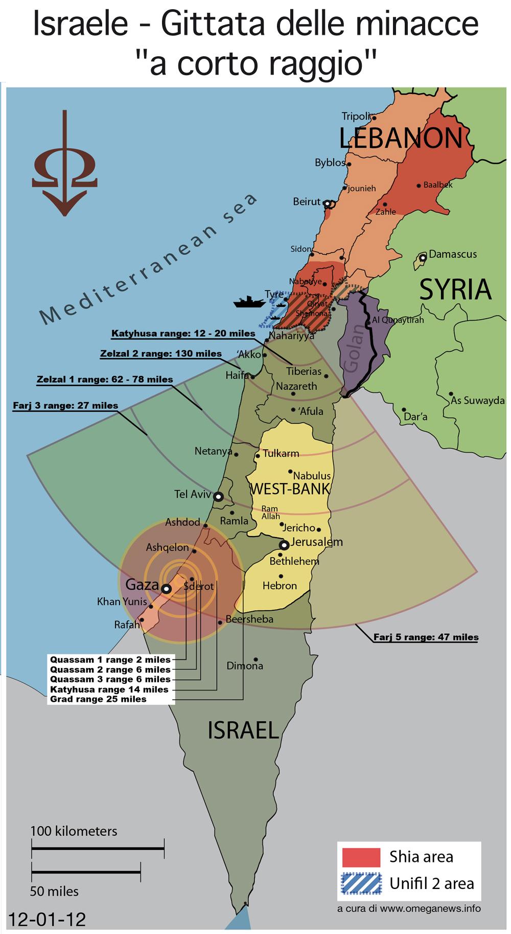 """Cartografia – Israele: gittata delle minacce """"a corto raggio"""""""