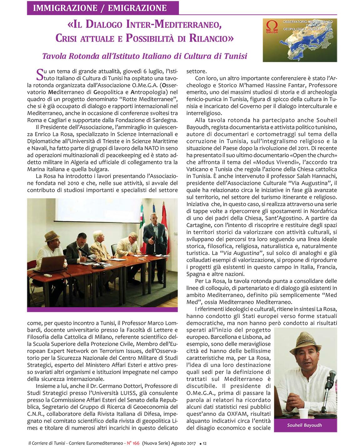 «IL DIALOGO INTER-MEDITERRANEO, CRISI ATTUALE E POSSIBILITÀ DI RILANCIO» – Tavola Rotonda all'Istituto Italiano di Cultura di Tunisi»