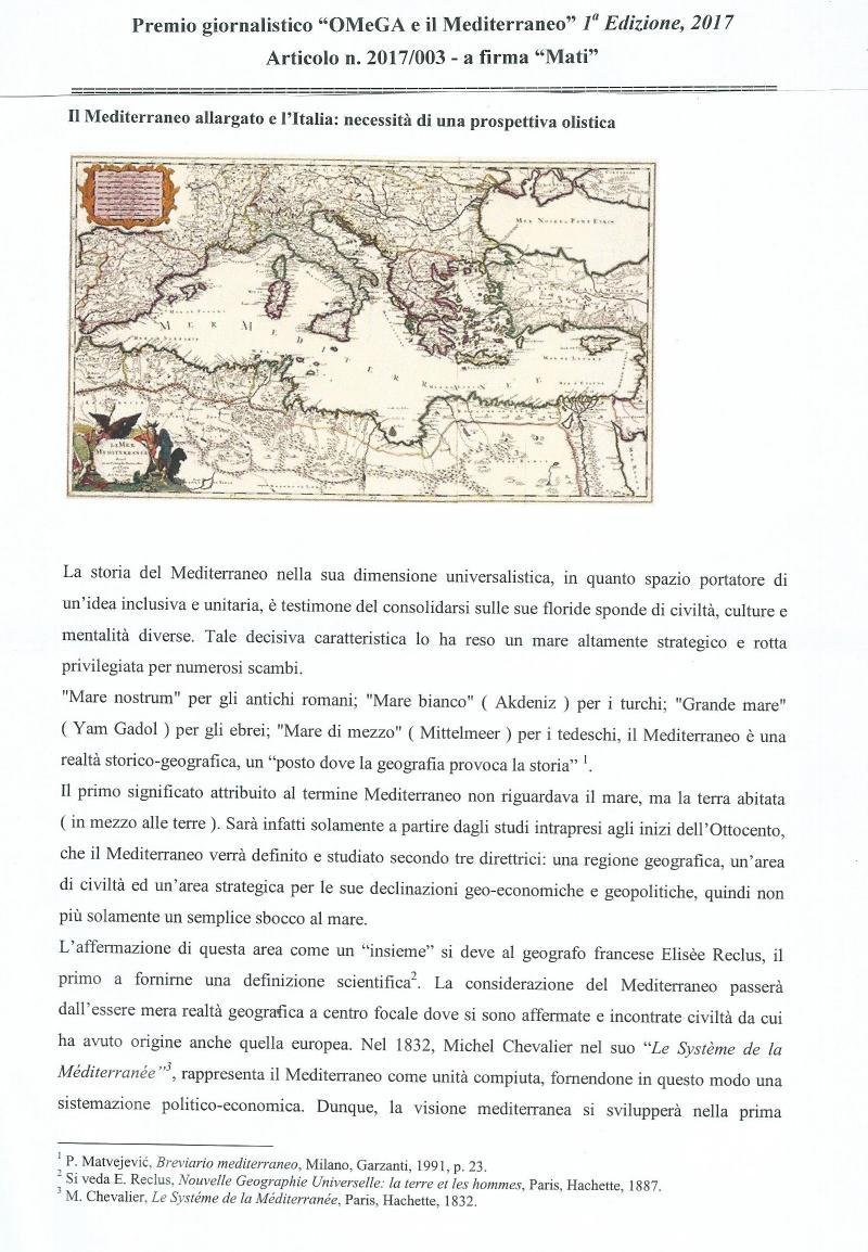 Il Mediterraneo allargato e l'Italia: necessità di una prospettiva olistica