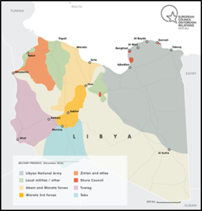 Aree presidiate dalle varie milizie